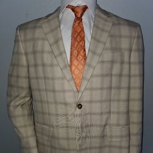Haggar Tan Plaid Sport Coat 42S Excellent Cond